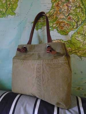 Tamara Fogle bag made from vintage military tent fabric