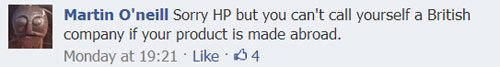 Comments on HP Sauce Facebook page