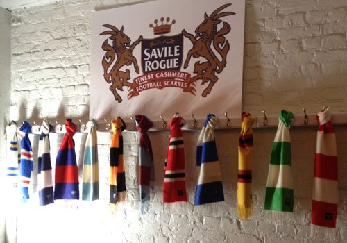 Savile Rogue cashmere football scarves- because we love football but hate nylon