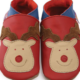 Star Child Reindeer baby shoes red