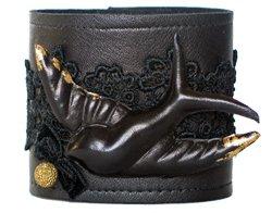 Lulabop leather cuff with bluebird design