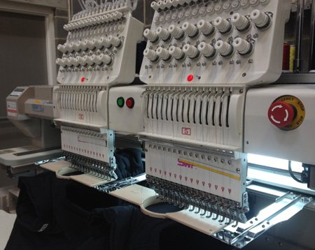 Embroidery machines at Tempus Clothing