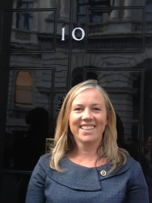 Kate Hills from Make it British outside No.10
