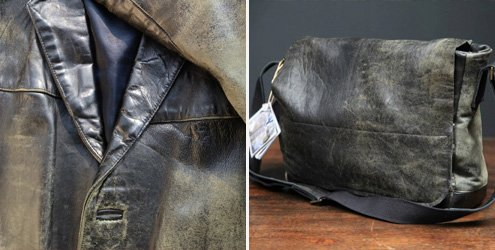 Distressed Leather Postage Bag by Aly Bond