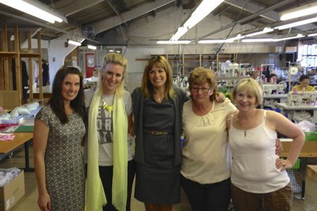 Carol Smillie with the ladies at the Headen & Quarmby factory