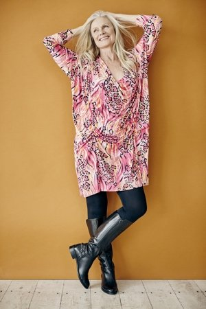 Print Drape Dress and black leggings by Hope clothing