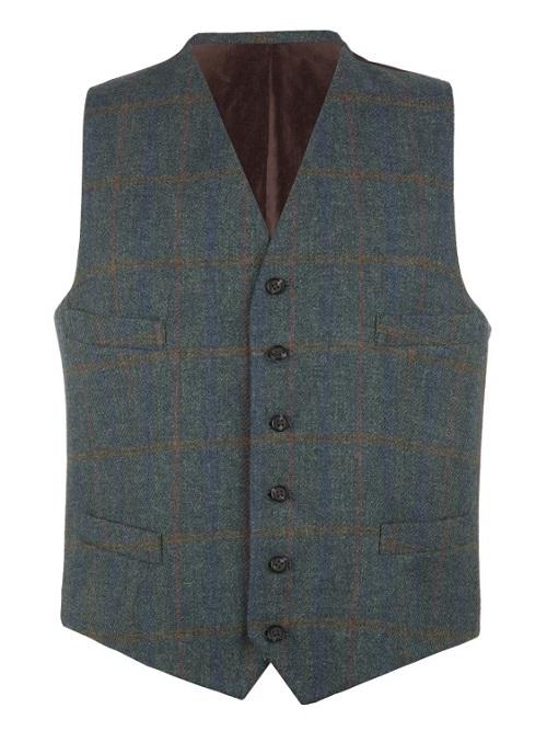 Petrol Check Tweed Waistcoat(1)