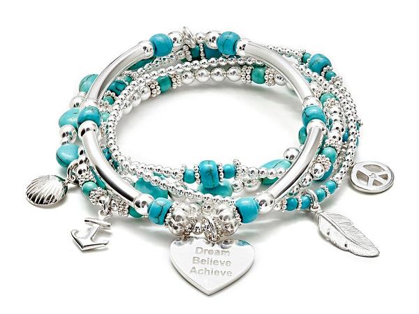Tranquil Turquoise Silver Charm Bracelet by Annie Haak