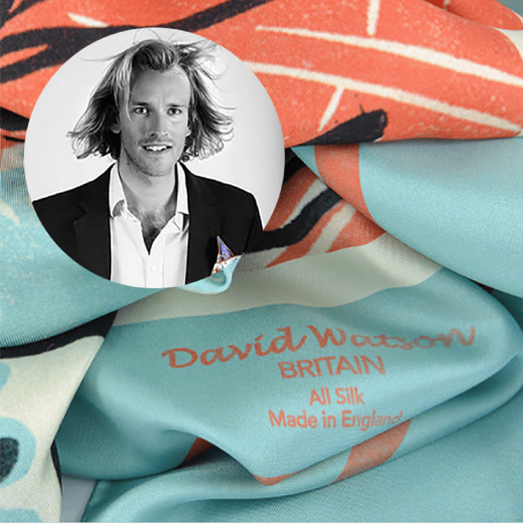 David Watson, silk scarves, pocket square, digital printing, silk, hand rolled, artist, artwork