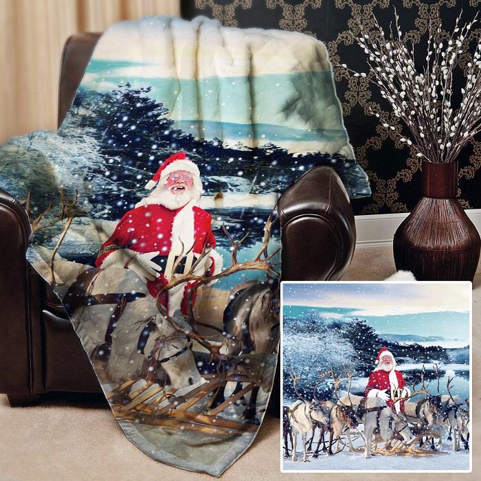 L&S Prints Make it British Christmas Digital festive fleece blanket