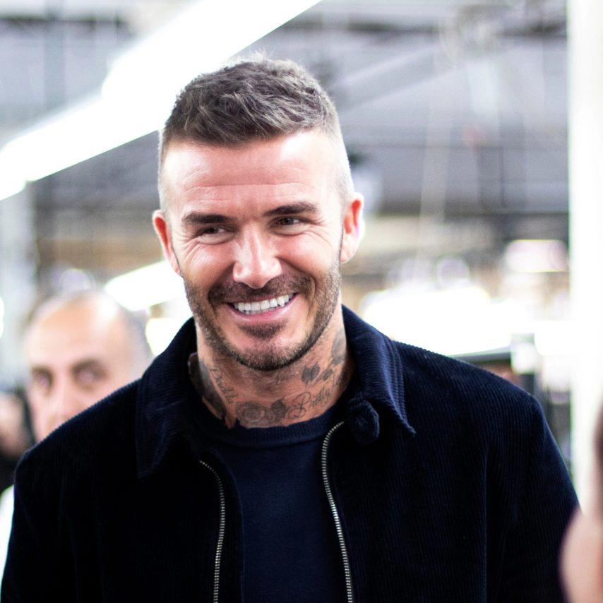 David Beckham at the Private White V.C. factory