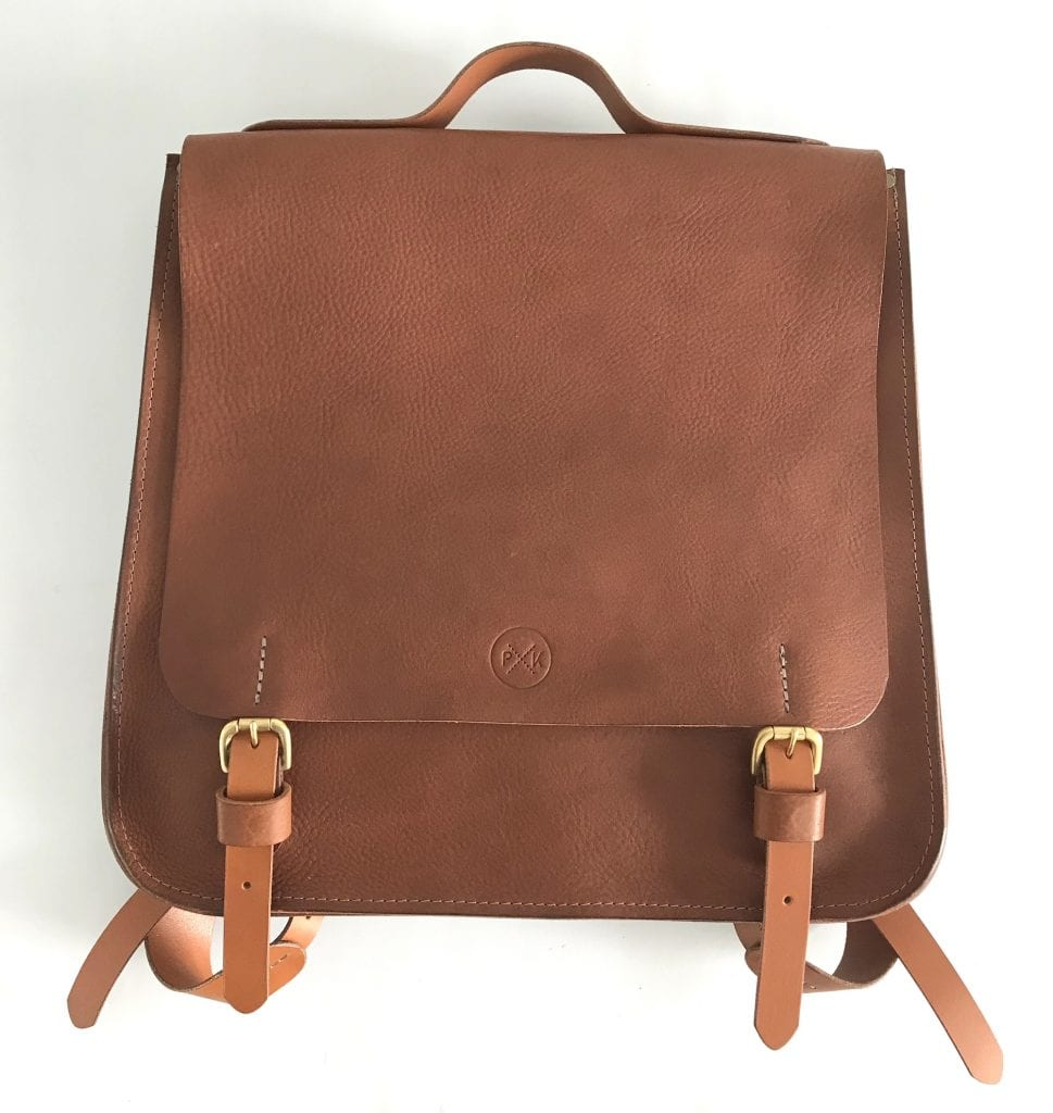 LUXE-tan-backpack-front