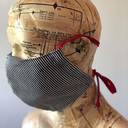 The Stitch Society stripy cotton fask mask