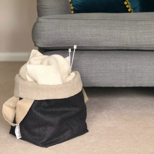 Annie-With-Alex-British Wool and Linen Bucket Home Storage Bag