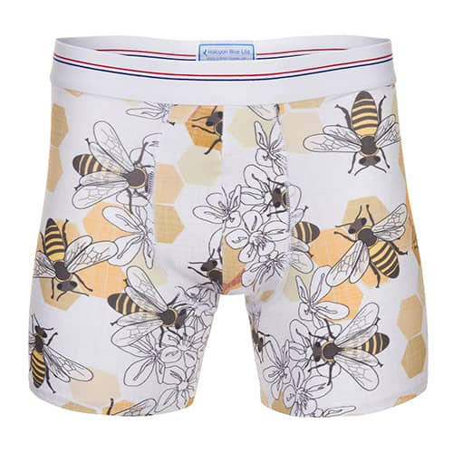Halcyon Blue Save the bee boxer shorts print