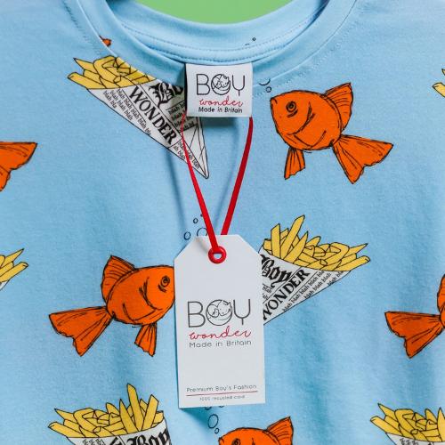 Boy Wonder Fish and Chips UK-made childrens T-shirt